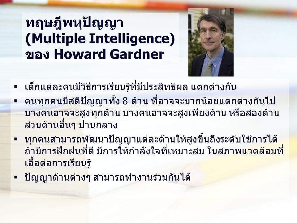 ทฤษฎีพหุปัญญา (Multiple Intelligence) ของ Howard Gardner