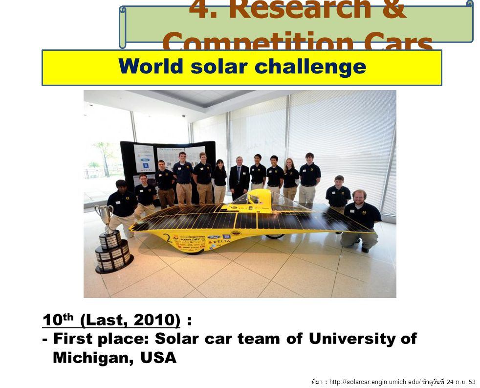 4. Research & Competition Cars