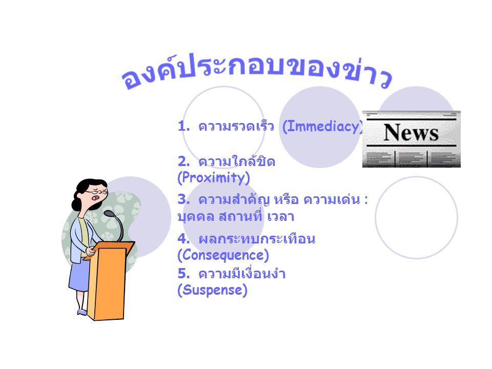 องค์ประกอบของข่าว 1. ความรวดเร็ว (Immediacy)