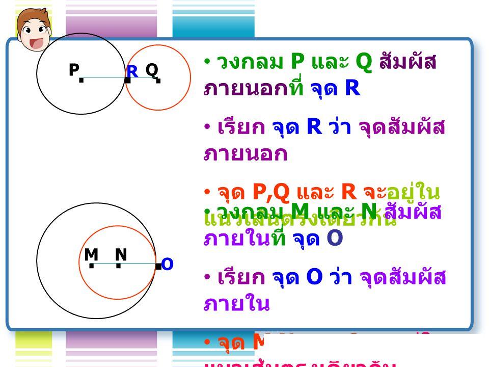 . . . . . . วงกลม P และ Q สัมผัสภายนอกที่ จุด R