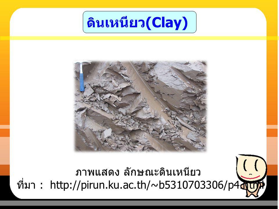 ดินเหนียว(Clay) ภาพแสดง ลักษณะดินเหนียว ที่มา : http://pirun.ku.ac.th/~b5310703306/p4.html