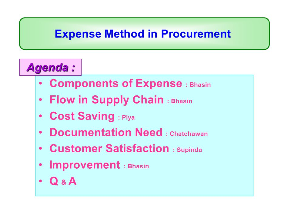Expense Method in Procurement