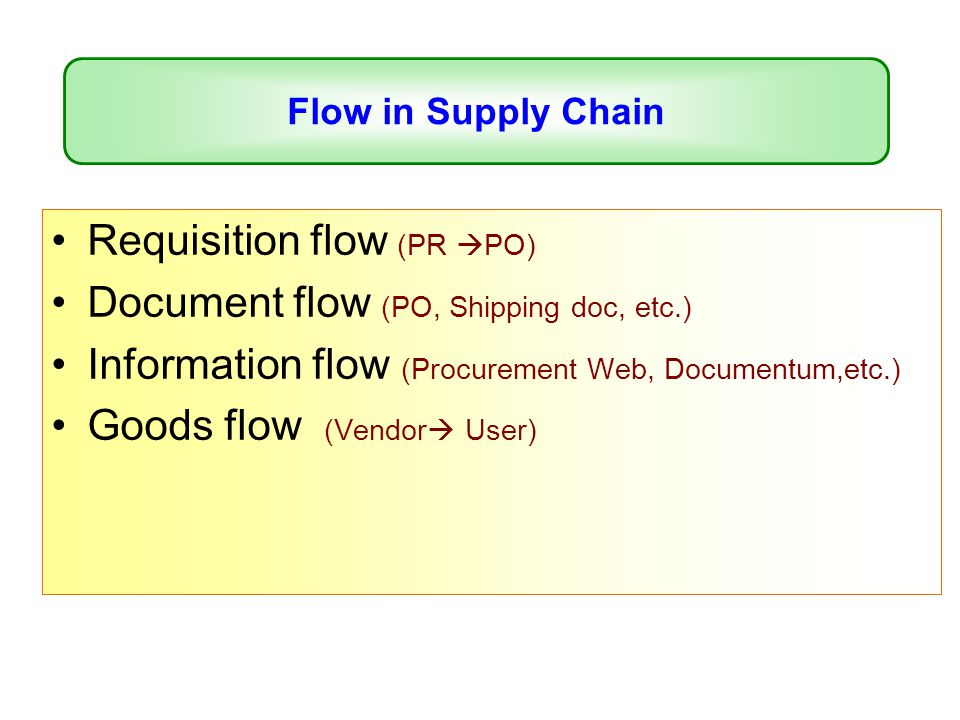 Requisition flow (PR PO) Document flow (PO, Shipping doc, etc.)