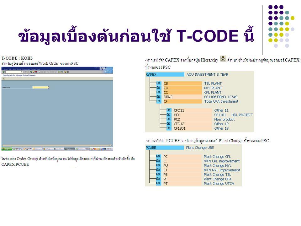 ข้อมูลเบื้องต้นก่อนใช้ T-CODE นี้