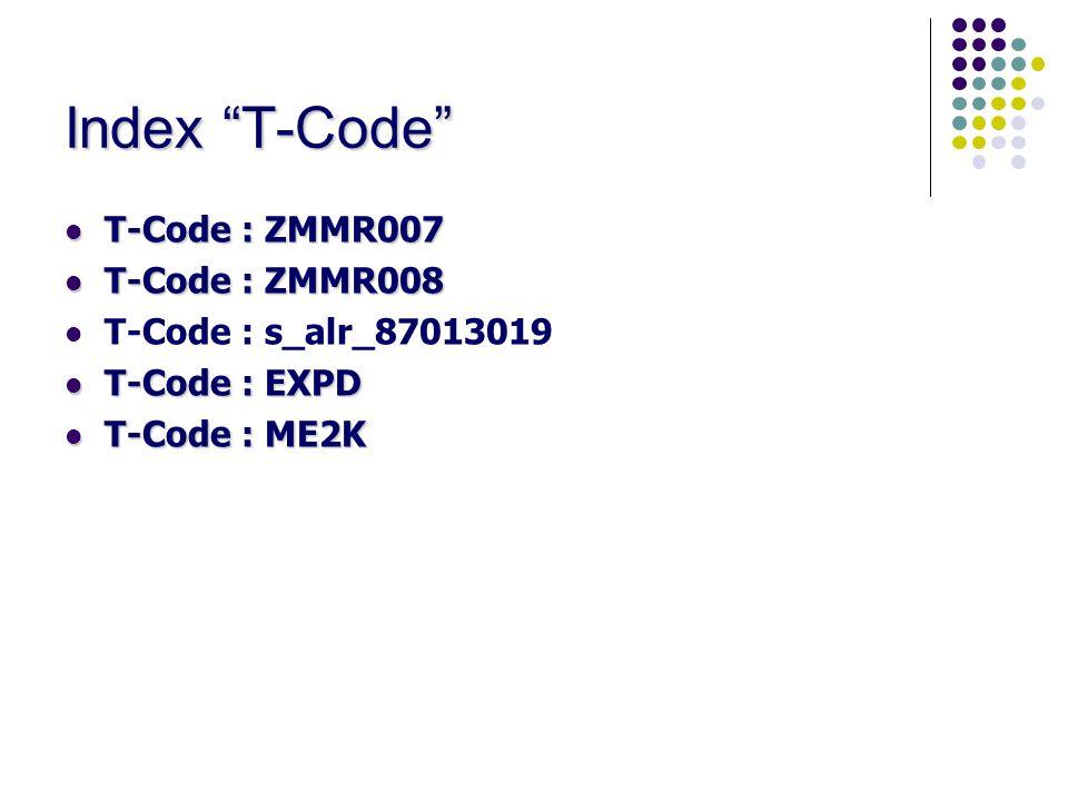 Index T-Code T-Code : ZMMR007 T-Code : ZMMR008