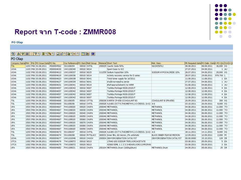 Report จาก T-code : ZMMR008