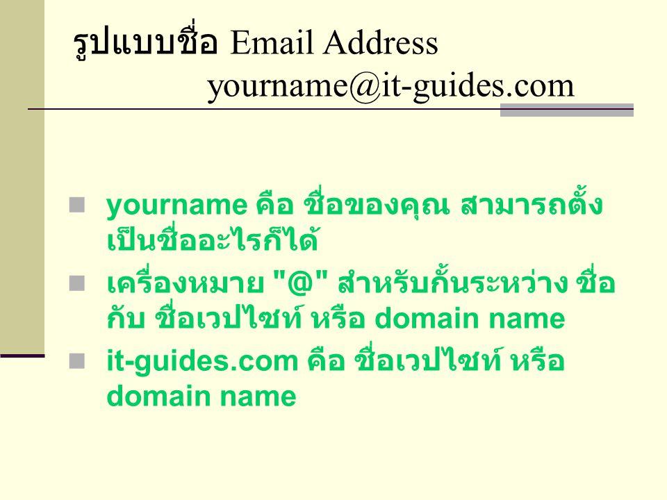รูปแบบชื่อ Email Address yourname@it-guides.com