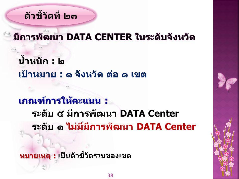 มีการพัฒนา Data Center ในระดับจังหวัด