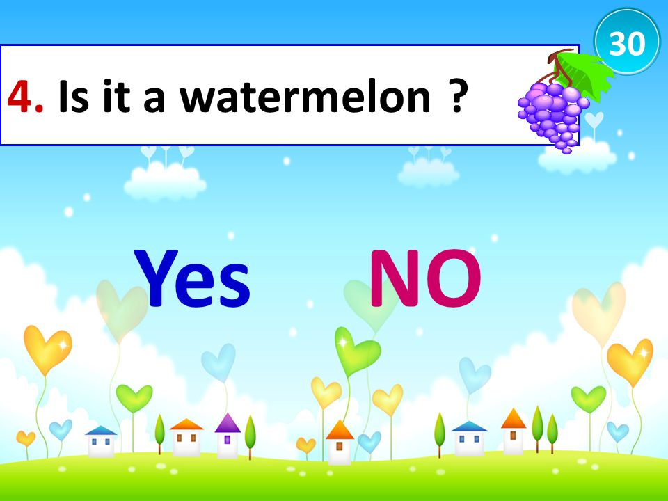 30 4. Is it a watermelon Yes NO