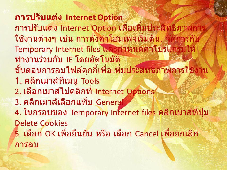 การปรับแต่ง Internet Option