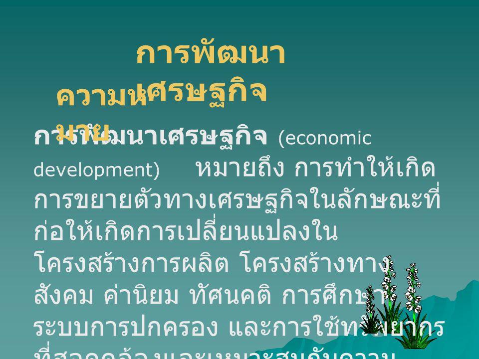 การพัฒนาเศรษฐกิจ ความหมาย