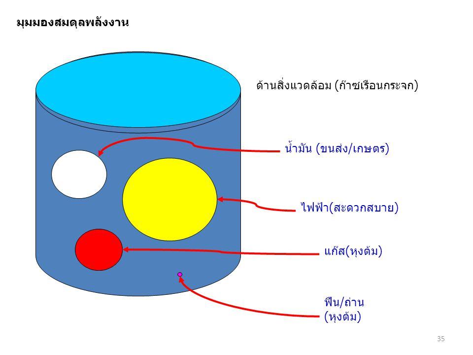 มุมมองสมดุลพลังงาน ด้านสิ่งแวดล้อม (ก๊าซเรือนกระจก) น้ำมัน (ขนส่ง/เกษตร) ไฟฟ้า(สะดวกสบาย) แก๊ส(หุงต้ม)