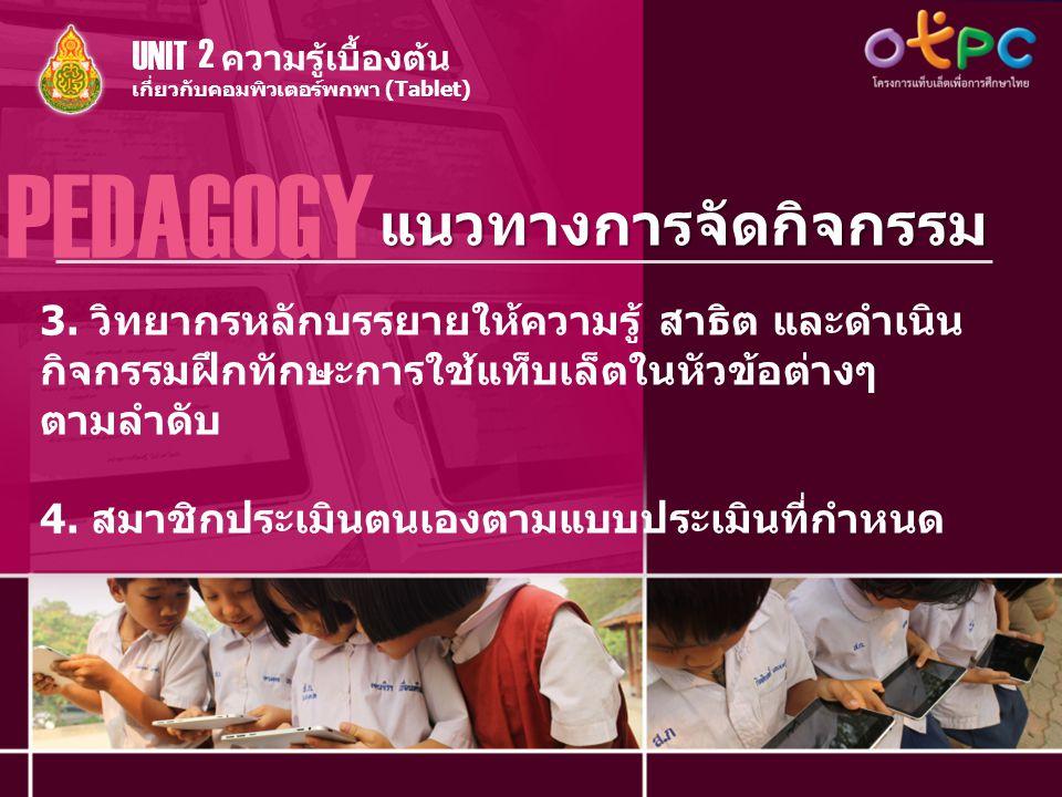 PEDAGOGY แนวทางการจัดกิจกรรม UNIT 2