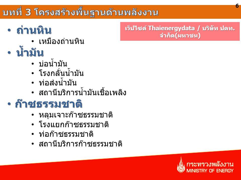 เว็ปไซต์ Thaienergydata / บริษัท ปตท. จำกัด(มหาชน)