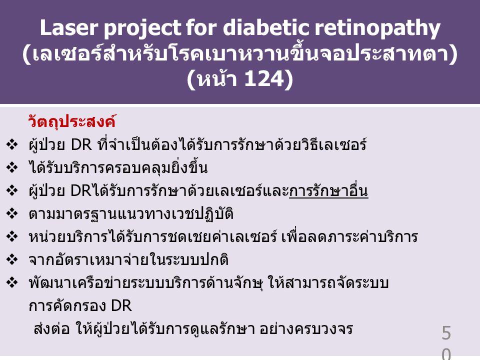 Laser project for diabetic retinopathy (เลเซอร์สำหรับโรคเบาหวานขึ้นจอประสาทตา) (หน้า 124)