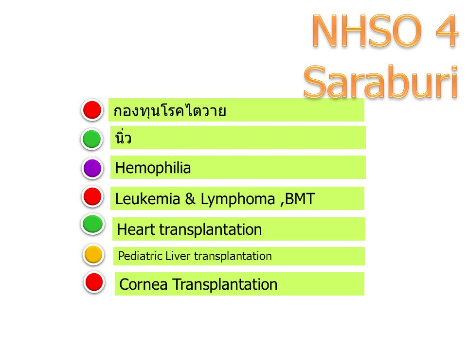 NHSO 4 Saraburi กองทุนโรคไตวาย นิ่ว Hemophilia