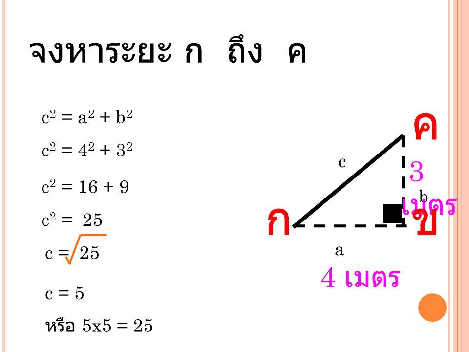 ค ก ข จงหาระยะ ก ถึง ค 3เมตร 4 เมตร b c2 = a2 + b2 c2 = 42 + 32 c