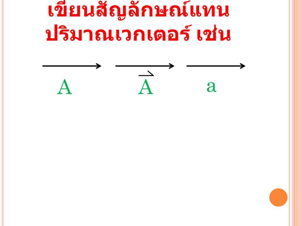 เขียนสัญลักษณ์แทนปริมาณเวกเตอร์ เช่น