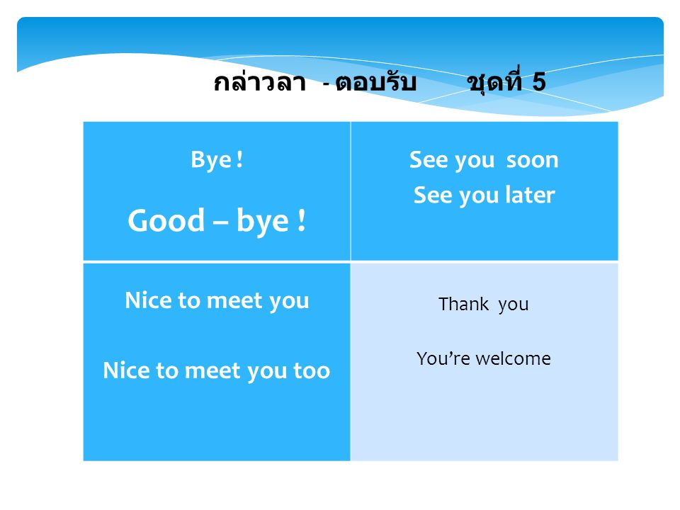 Good – bye ! กล่าวลา - ตอบรับ ชุดที่ 5 Bye ! See you soon
