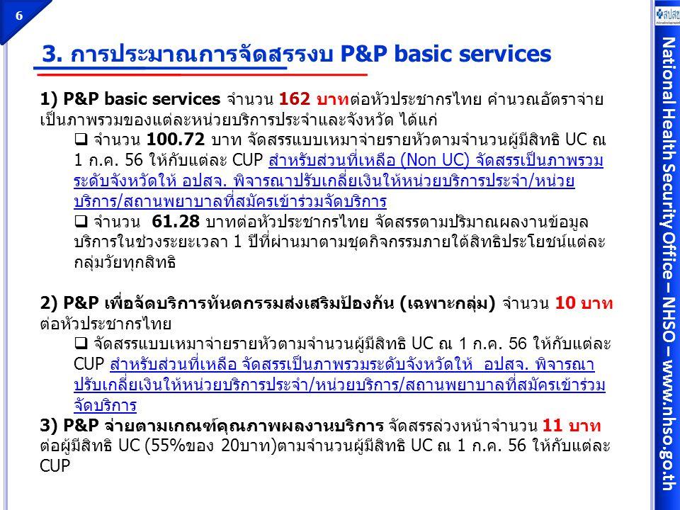 3. การประมาณการจัดสรรงบ P&P basic services