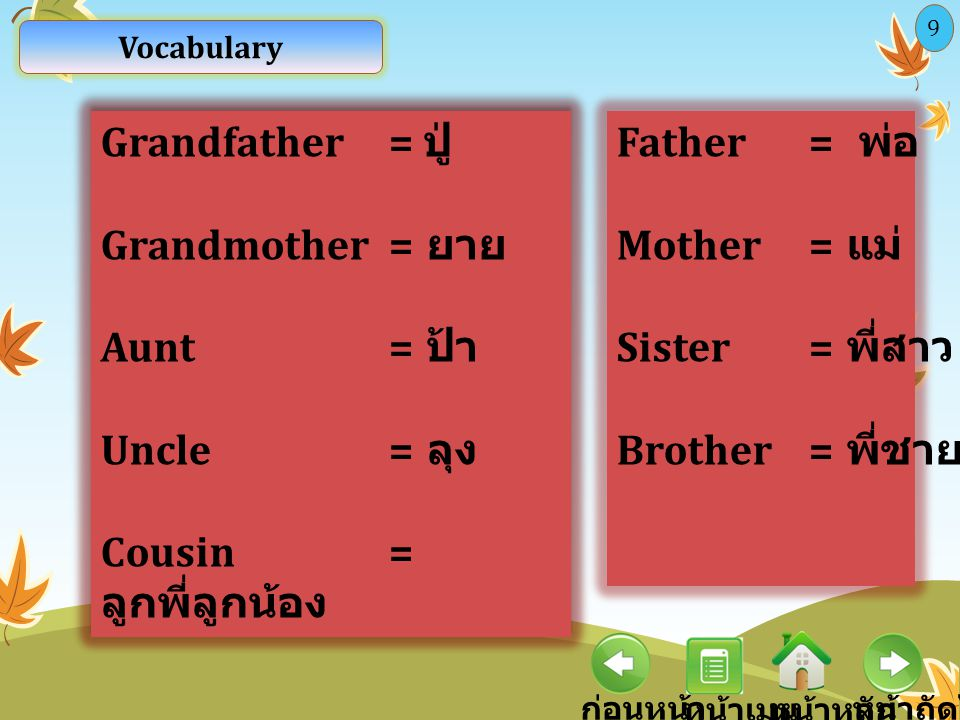 Cousin = ลูกพี่ลูกน้อง Father = พ่อ Mother = แม่ Sister = พี่สาว