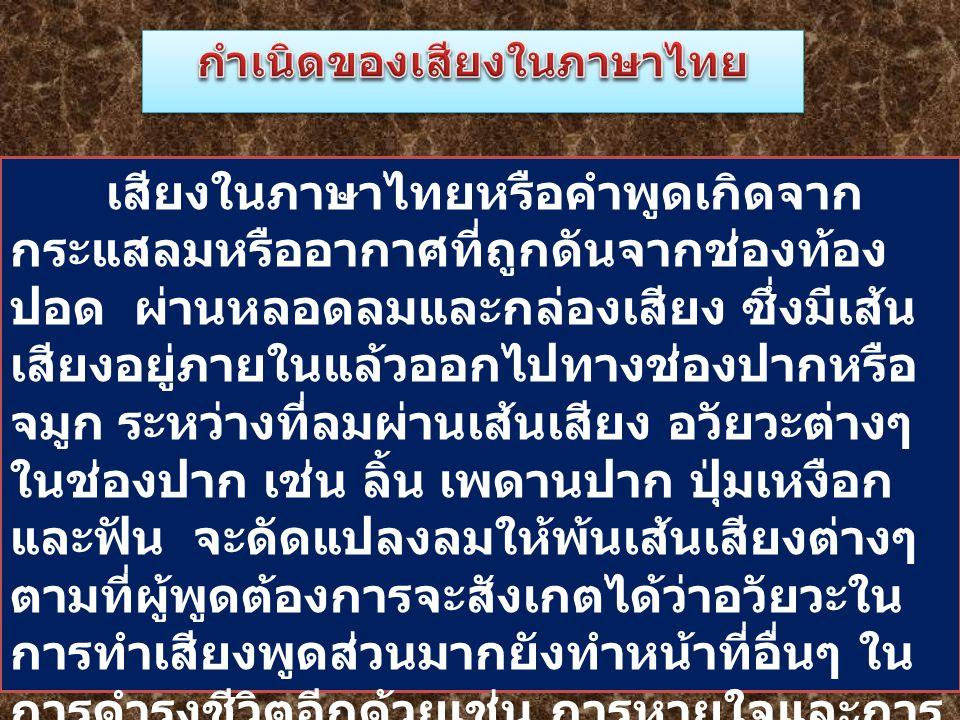 กำเนิดของเสียงในภาษาไทย