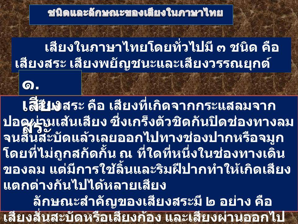 ชนิดและลักษณะของเสียงในภาษาไทย