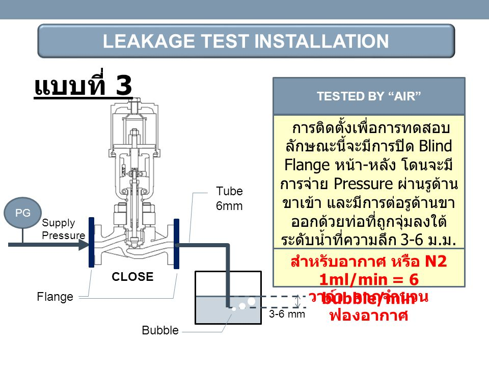 แบบที่ 3 LEAKAGE TEST INSTALLATION