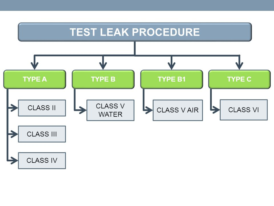 TEST LEAK PROCEDURE TYPE A TYPE B TYPE B1 TYPE C CLASS II