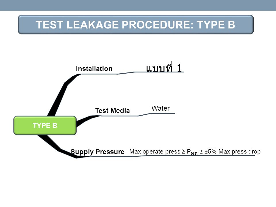 TEST LEAKAGE PROCEDURE: TYPE B