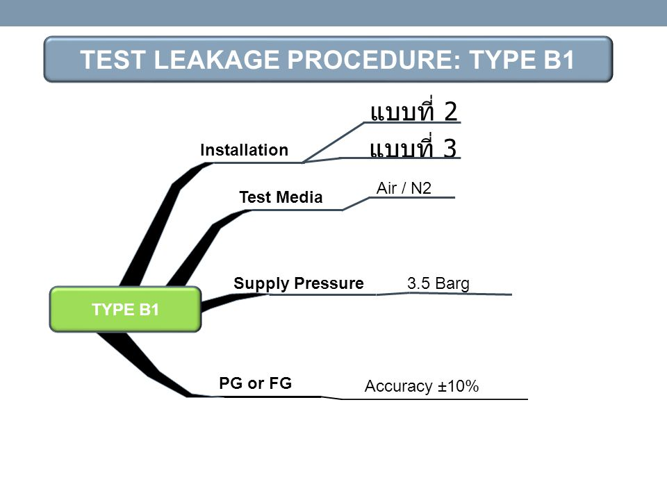 TEST LEAKAGE PROCEDURE: TYPE B1
