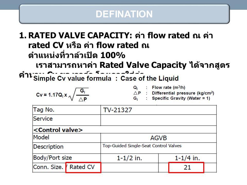 DEFINATION RATED VALVE CAPACITY: ค่า flow rated ณ ค่า rated CV หรือ ค่า flow rated ณ ตำแหน่งที่วาล์วเปิด 100%