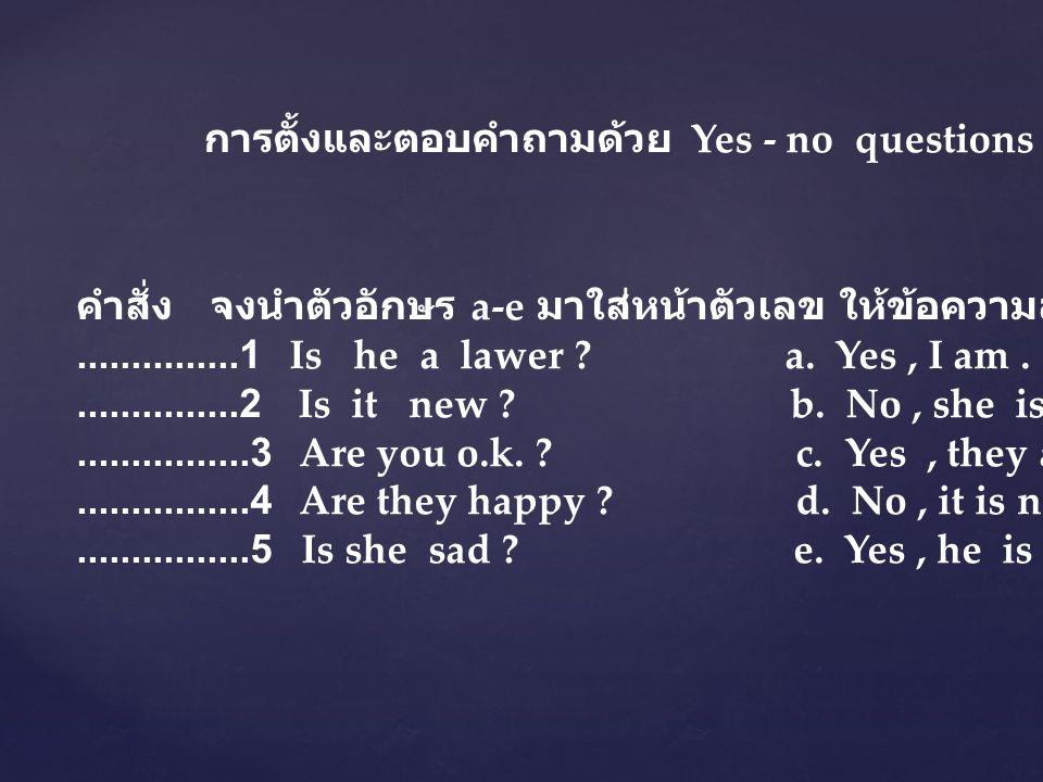 การตั้งและตอบคำถามด้วย Yes - no questions