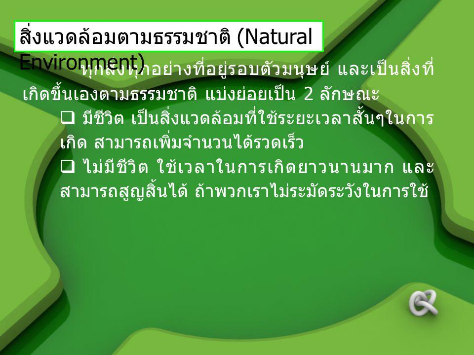 สิ่งแวดล้อมตามธรรมชาติ (Natural Environment)