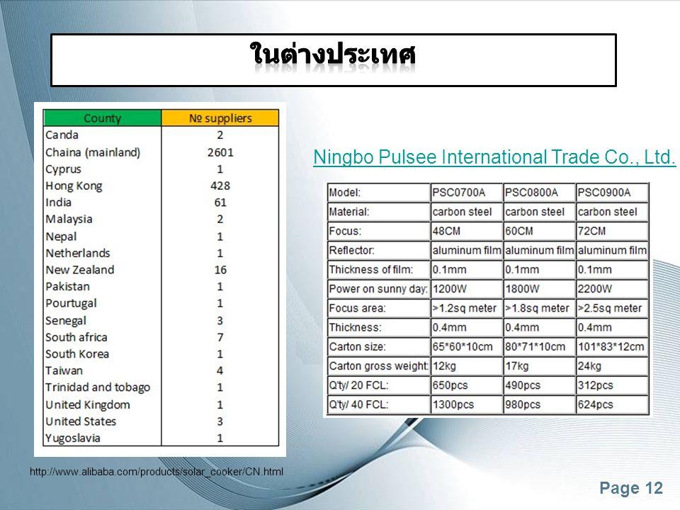ในต่างประเทศ Ningbo Pulsee International Trade Co., Ltd.