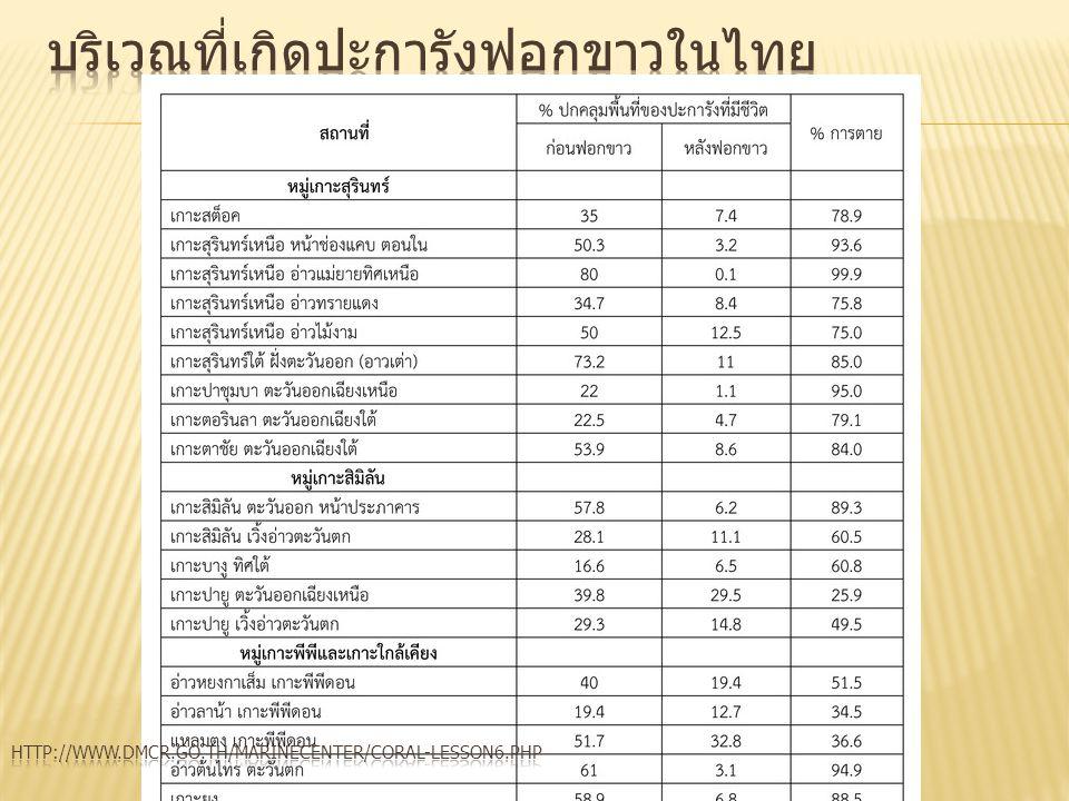 บริเวณที่เกิดปะการังฟอกขาวในไทย