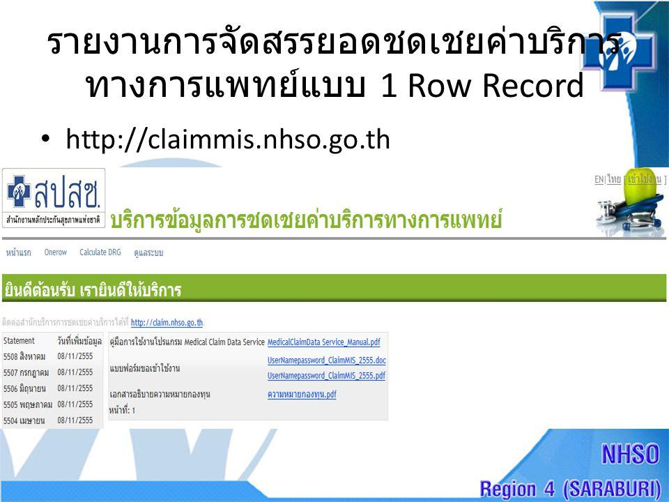 รายงานการจัดสรรยอดชดเชยค่าบริการทางการแพทย์แบบ 1 Row Record
