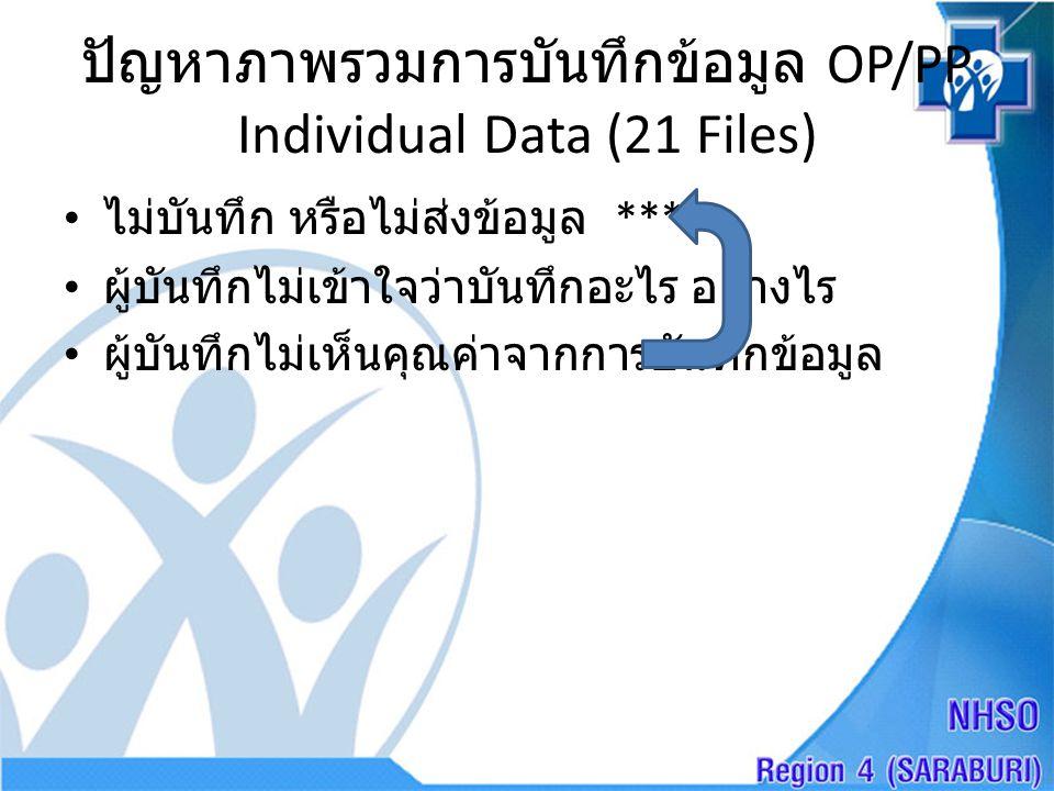 ปัญหาภาพรวมการบันทึกข้อมูล OP/PP Individual Data (21 Files)