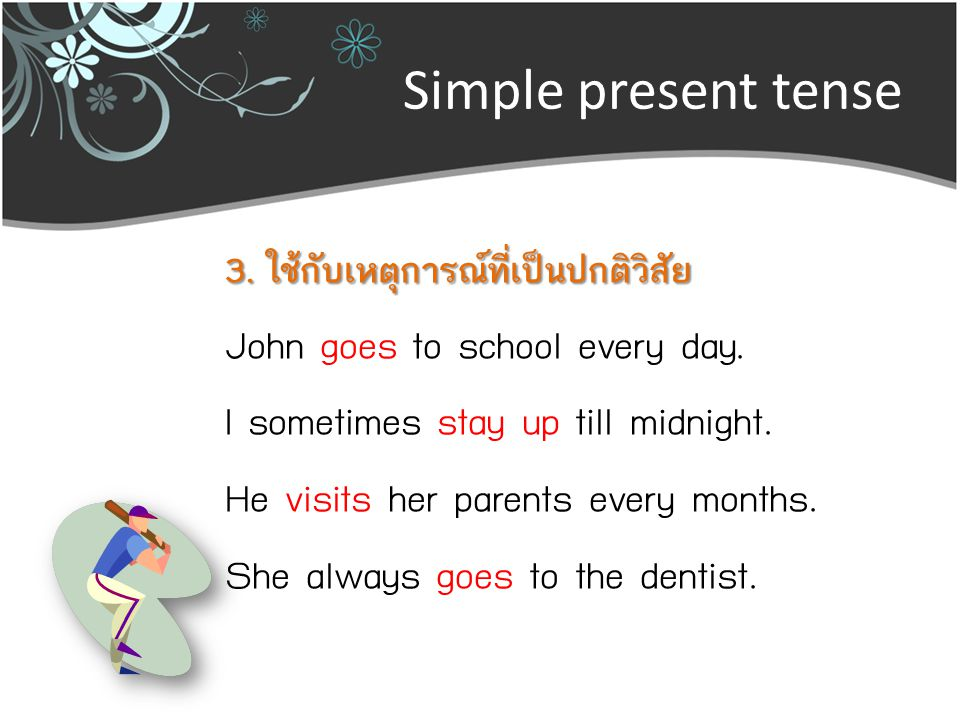 Simple present tense John goes to school every day.