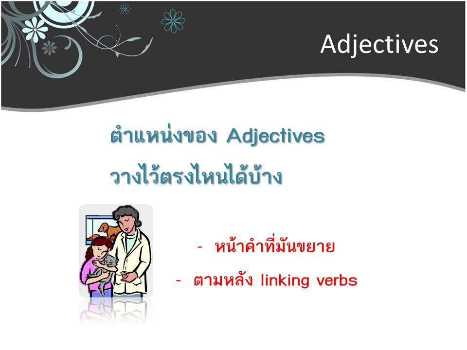 ตำแหน่งของ Adjectives วางไว้ตรงไหนได้บ้าง