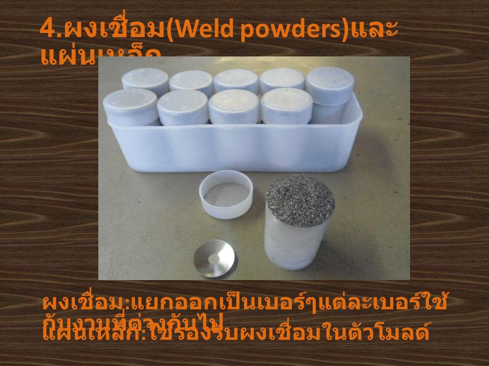 4.ผงเชื่อม(Weld powders)และแผ่นเหล็ก