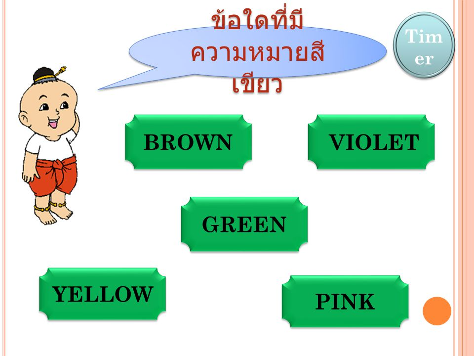 ข้อใดที่มีความหมายสีเขียว