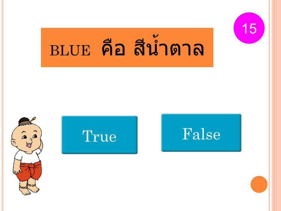 15 BLUE คือ สีน้ำตาล False True