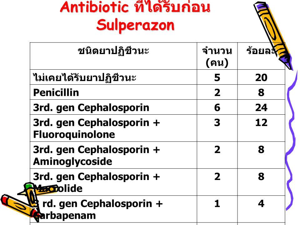 Antibiotic ที่ได้รับก่อน Sulperazon