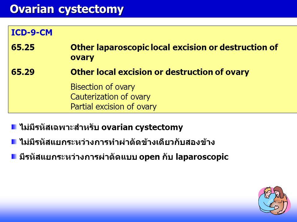 Ovarian cystectomy ICD-9-CM