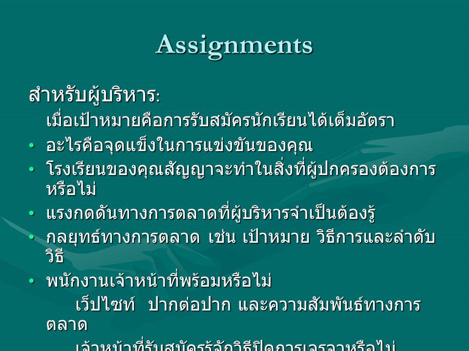 Assignments สำหรับผู้บริหาร: