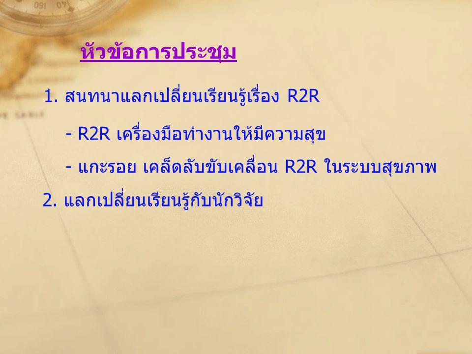 1. สนทนาแลกเปลี่ยนเรียนรู้เรื่อง R2R
