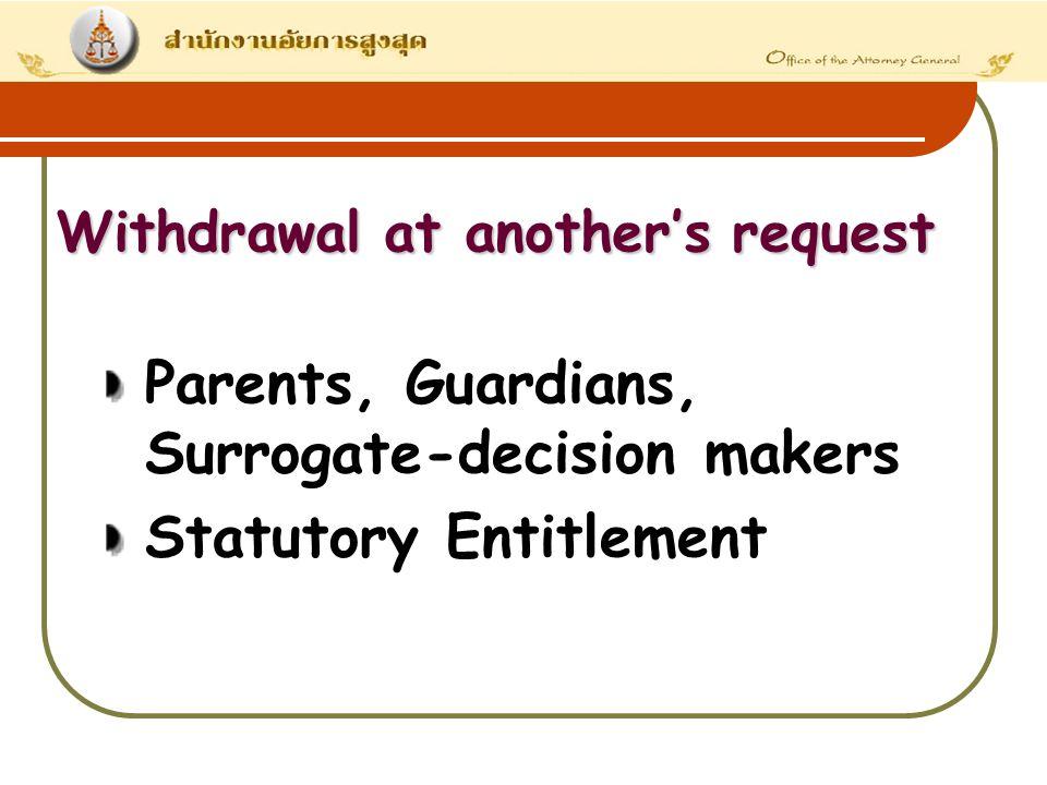 Parents, Guardians, Surrogate-decision makers Statutory Entitlement