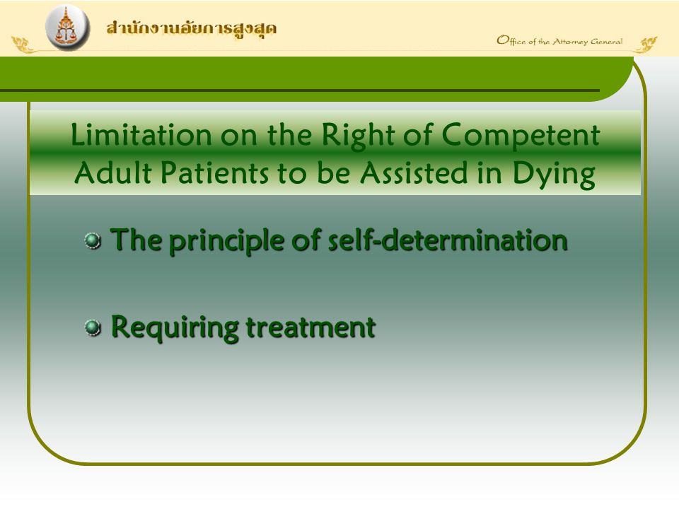 Limitation on the Right of Competent Adult Patients to be Assisted in Dying