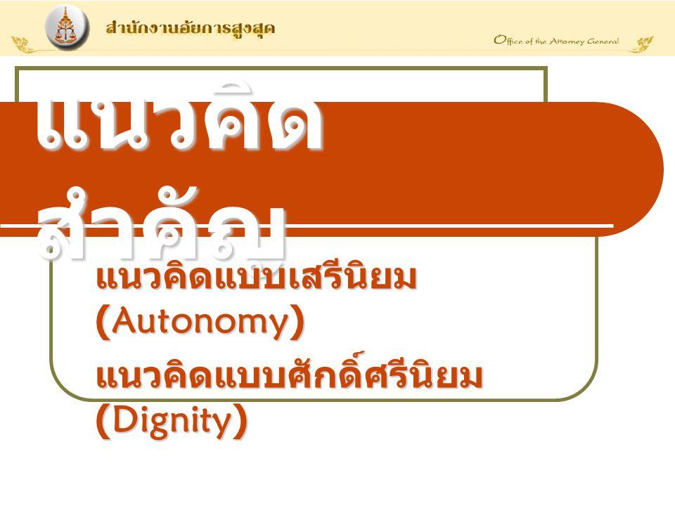 แนวคิดสำคัญ แนวคิดแบบเสรีนิยม (Autonomy)